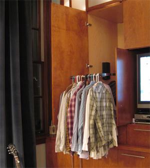 The bedroom closet.