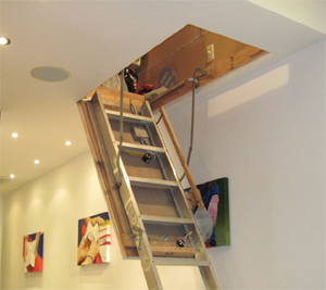 Access to the attic-like storage area.