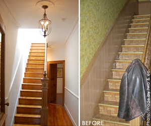Staircase before and after.