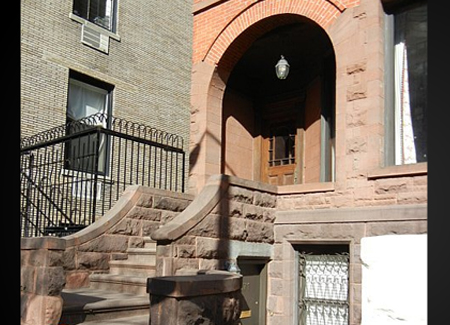 A brownstone stoop on West 71st Street, New York City.