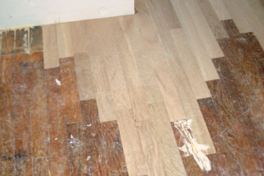 This is a patch of the original and new flooring.
