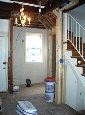 Pomander row house kitchen renovation progress.