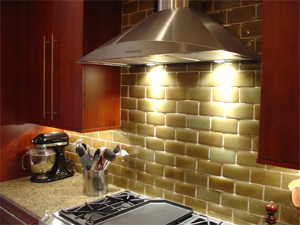 The use of recycled glass subway tiles is both classic and modern.