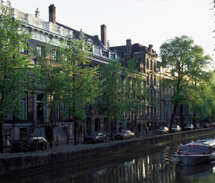 Row houses facing the canals in Amsterdam.
