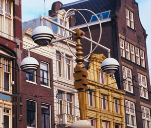 Various heights and facades of Amsterdam Row Houses.