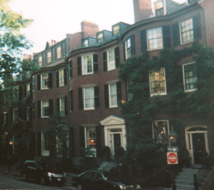 Greek revival row homes in Beacon Hill, Boston.