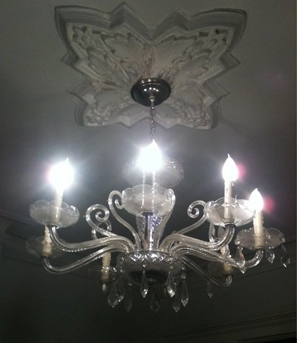The chandelier in the office.