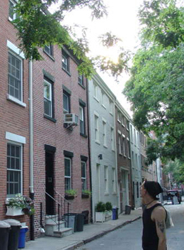 Traditional row houses facing Cobble Hill Park.