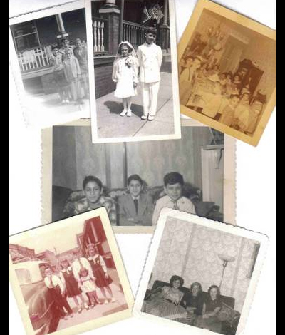 A collage of childhood photos from residents of Croskey Street.