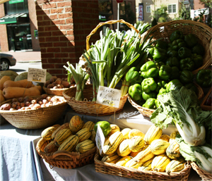 An assortment of fall squash and onions at the farmers' market.