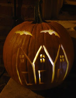 Haunted row house pumpkin.