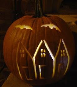 Haunted row house pumpkin.