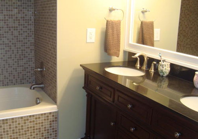 The master bath has ample room for multiple people to get ready in the morning.