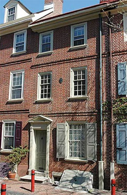 18th Century row house on Elfreth's Alley, Philadelphia.