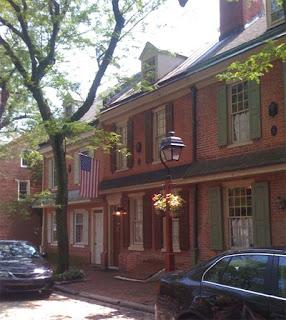 Colonial row houses in Philadelphia.