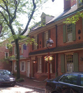 Colonial row houses in Philadelphia.