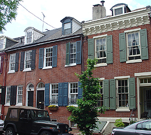 Federal row houses in Queen Village, Philadelphia.