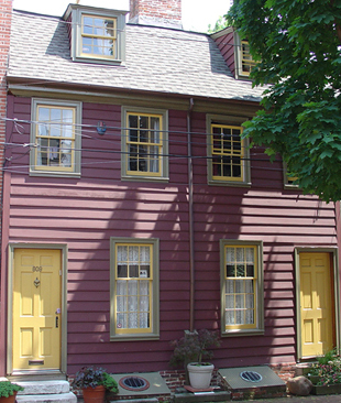 A rare example of wooden row homes from the 18th Century.