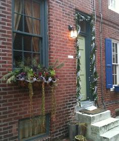 Philadelphia row house during the holidays.