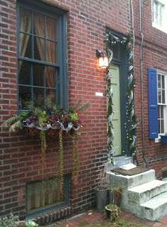 Philadelphia row house during the holidays.