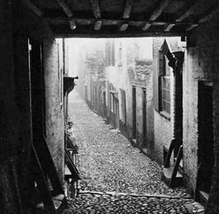 Some houses connect over the narrow passageways.