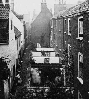 Row house backyards at the turn of the century.