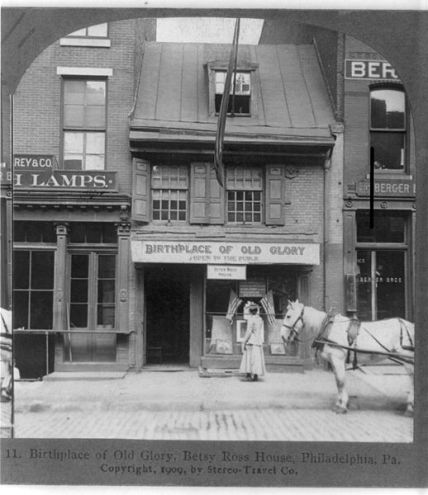 A photo from 1909 of the Betsy Ross house. Source: http://en.wikipedia.org/wiki/File:Birthplace_of_Old_Glory_Betsy_Ross_House_Philadelphia_Pa_1903.jpg