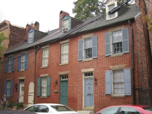 Federal row houses in Fell's Point, Baltimore, MD.