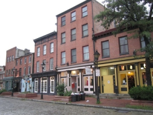 Beautiful storefront row houses in Fell's Point, Baltimore.