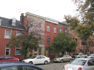 Row houses in Fell's Point, Baltimore, Maryland.