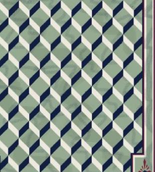 Nautical star over diamonds floor cloth by Lisa Curry Mair.