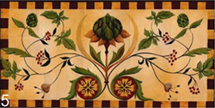 Floral banner floor cloth by Lisa Curry Mair.