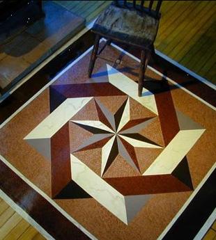 Nautical star floor cloth by Lisa Curry Mair.