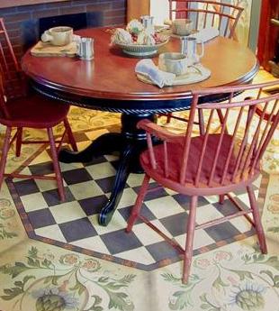Octagon floor cloth, breakfast nook, by Lisa Curry Mair.