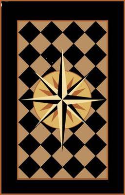 Diamond pattern floor cloth by Lisa Curry Mair.