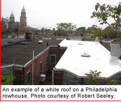 A white roof on a Philadelphia row house.