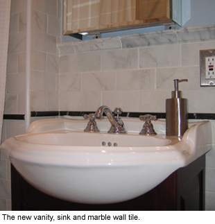Bathroom sink in a row house.