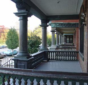 The columns on the porch are solid granite.