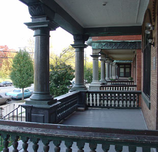 The columns on the porch are solid granite.
