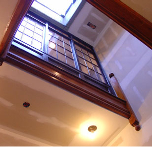 This is the original staircase. The owner has incorporated this into the layout of the new apartments. There are skylights at the top which flood the area with natural light.
