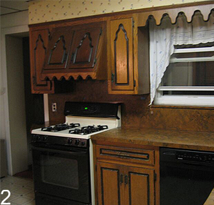 Before the remodel, the kitchen is dark and gloomy.