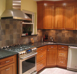 The cabinets were chosen to go with the period of the house. The colors are cheery and welcoming.