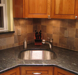 A corner sink maximizes space.
