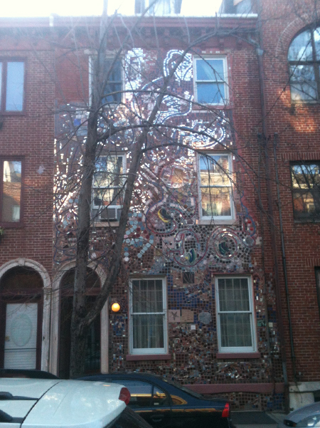 Mosaic covered row house in Philadelphia.