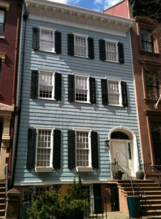 A wooden row house in Brooklyn Heights, New York.
