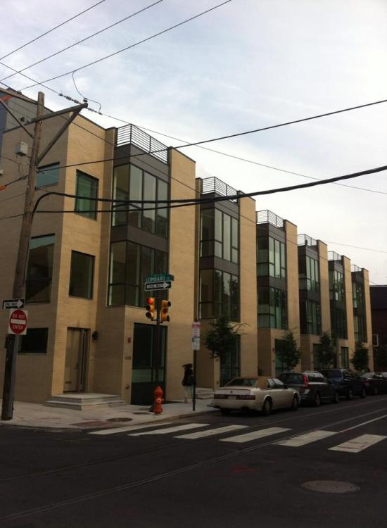 Modern row houses in Philadelphia.