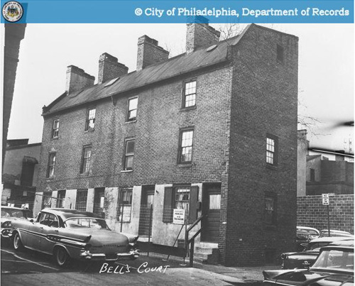 Row houses in Bell's Court, Society Hill, Philadelphia, PA.