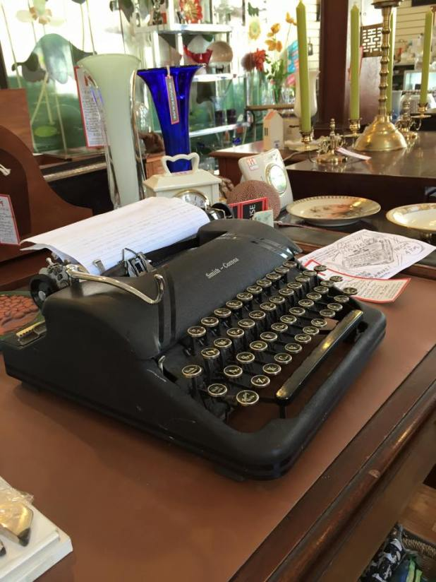 Rowhouse in Manayunk, Philadelphia, vintage typewriter.