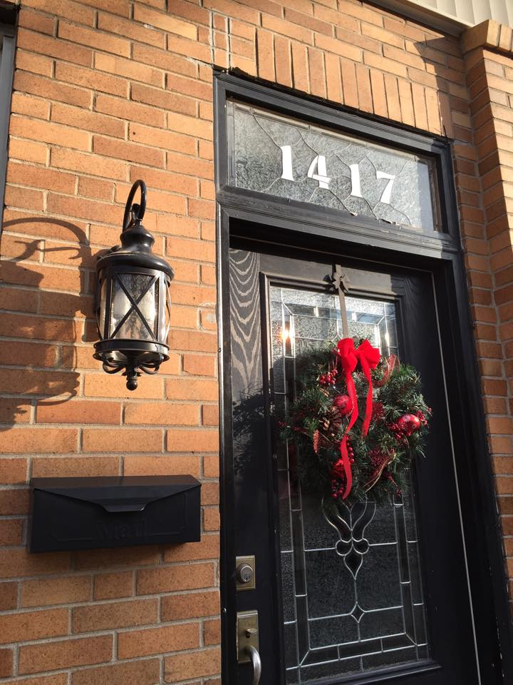 Holiday row house decorations.